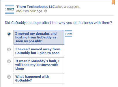 Poll: Did GoDaddy's Outage Affect the Way You Do Business With Them?