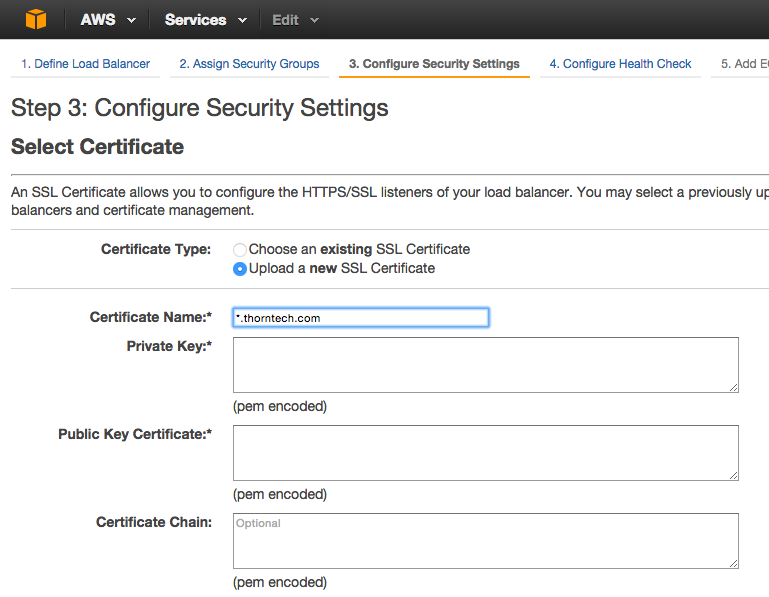 Adding SSL Certificate to AWS
