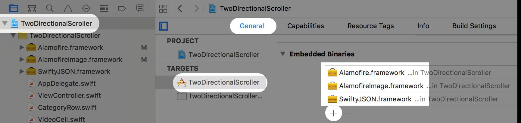 adding embedded binaries