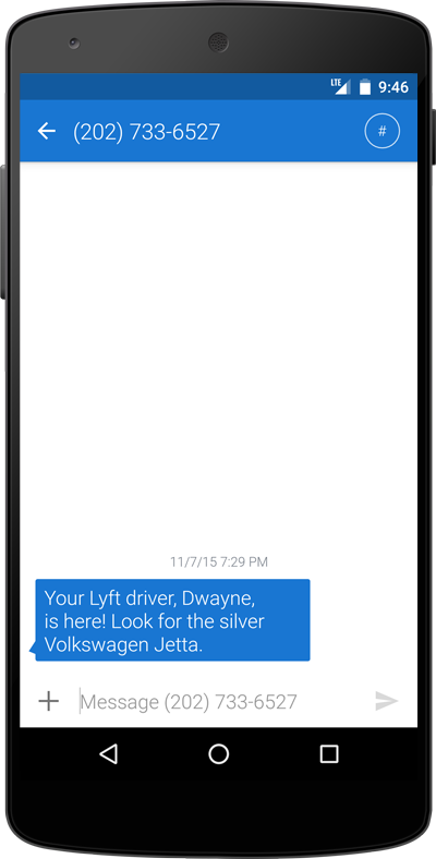 lyft text message
